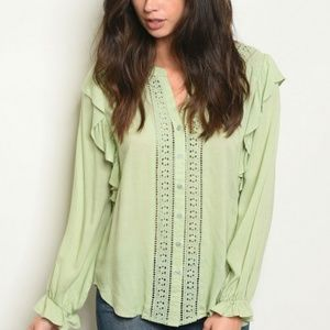 NWOT Green Blouse in Small and  Large